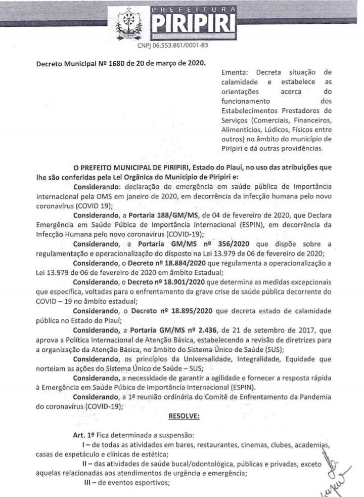Prefeitura de Piripiri decreta situação de calamidade diante da pandemia COVID-19