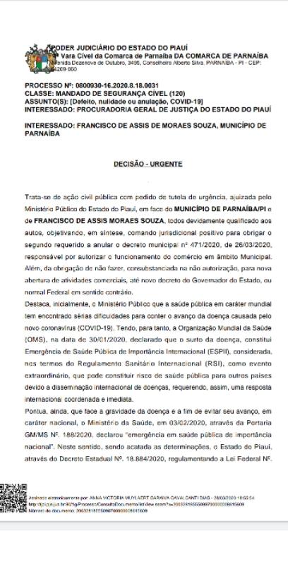 MPPI derruba decreto de Parnaíba que autorizava funcionamento de estabelecimentos comerciais