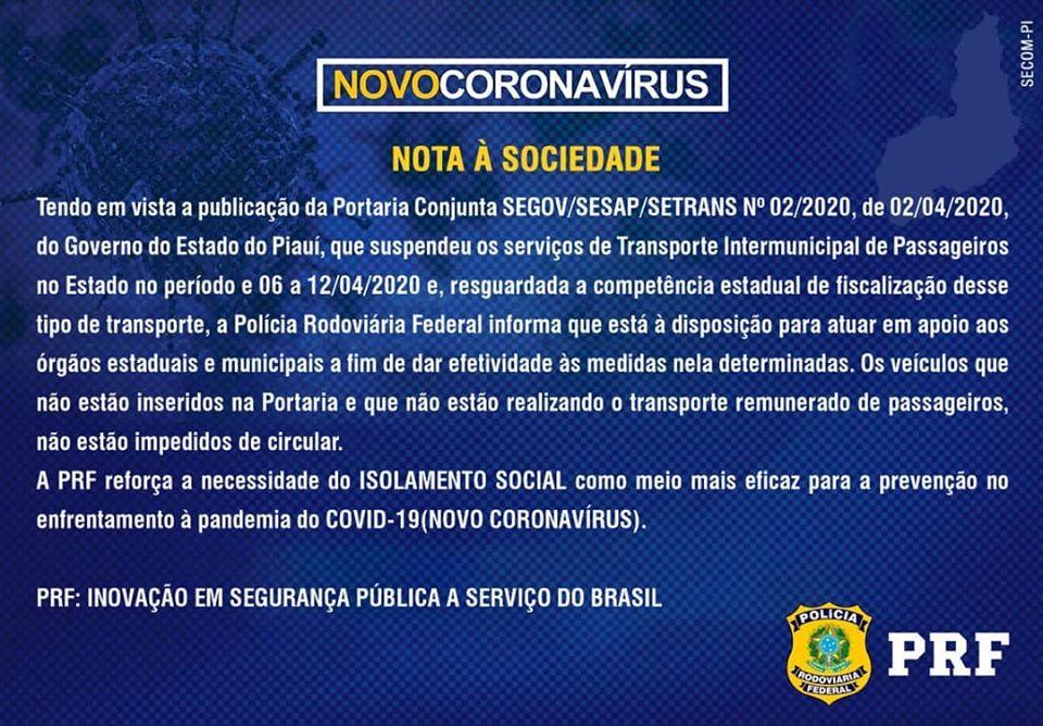 Nota da PRF Piauí