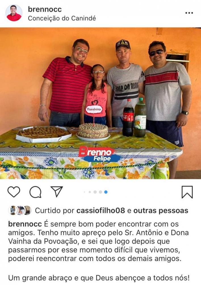 Mau exemplo: Enfermeiro e pré-candidato a prefeito Brenno Felipe desrespeita quarentena em sua pré-campanha em Conceição do Canindé