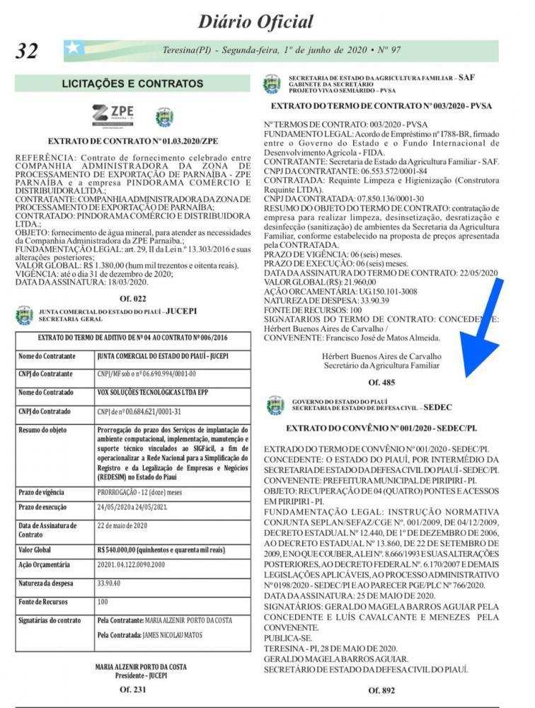 Emenda do deputado MARDEN: Convênio entre Piripiri e a Secretaria Estadual da Defesa Civil é publicado no DOE do Piauí