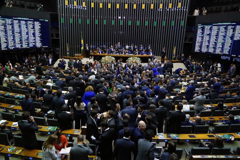 Plenário da Câmara dos Deputados na primeira sessão deste ano — Foto: Pablo Valadares/Câmara dos Deputados